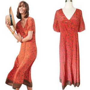 SEZANE Sollie Dress Floral Silk Button Down 38 / 6